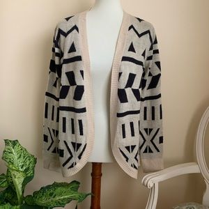 Forever 21 Black and Cream Open Cardigan Sweater